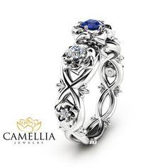 Blaue natürliche Saphir Verlobungsring den von CamelliaJewelry