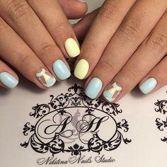 Air nails, Blue and yellow nails, Everyday nails, Geometric nails, Nails ideas 2016, Nails trends 2016, Original nails, Pastel nails