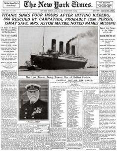 New York Times article from April 1912 about the Titanic Sinking. The Titanic steamship was the largest ship ever built at the time. In the ship sailed from Southampton, England to New York City. On April 1912 the ship struck an iceberg. Rms Titanic, Titanic Sinking, Titanic Wreck, Titanic Movie, Titanic Photos, Belfast, Times Newspaper, Newspaper Headlines, Vintage Newspaper