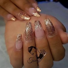 Gaaabbriellaa Acrylicnails Gold Sparkle Nails Acrylic French Manicure With Glitter