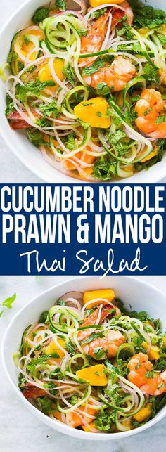 Recipe for a fresh cucumber noodle prawn and mango salad which is also gluten free. All the thai flavours of Bangkok in this hearty spiralizer salad recipe.