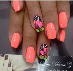 Top 15 Nail Art Designs For Short Nails While preparing your best summer dress you need to together undertake fun and excellent summer nail art for short nails! this is the number 15 on the Top 15 Nail Art Designs For Short Nails. Colorful Nail Designs, Cool Nail Designs, Flower Nail Designs, Nail Designs Spring, Nails With Flower Design, Fingernail Designs, Fancy Nails, Pretty Nails, Cute Nail Colors