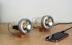 Glass jar speakers by designer Sarah Pease are made using the open source speaker design byDavid A. Mellis,