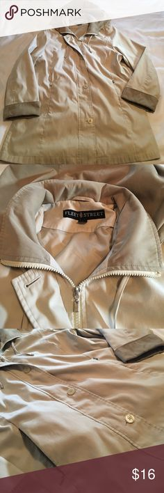 Fleet Street lady jacket, zipper pockets & hood. Fully lined jacket by Fleet Street. Features button and zipper front closure plus zipper pockets and a removable hood. Material has a soft brushed feel. Two tone tans goes with everything. Fleet Street Jackets & Coats