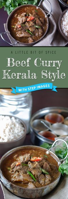 An easy and delicious Kerala style beef curry. Spicy nadan Beef curry preparation which goes well with ghee rice, appam, parotta, puttu, and chappathi. Curry Recipes, Beef Recipes, Vegetarian Recipes, Cooking Recipes, Cooking Ham, Rice Recipes, Recipies, Healthy Recipes, Spiced Beef