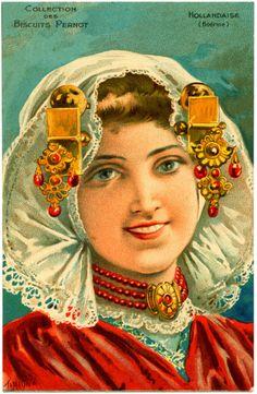 "Dutch Beauty ~ Biscuits Pernot ""National Beauties"" Dutch Artist signed by ""Tamagno"" Art Nouveau, Decoupage, Fancy Dress Ball, Dutch Women, Retro, Thing 1, Dutch Artists, Woman Painting, Vintage Postcards"