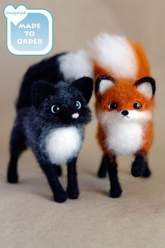 Silver FOX / Marble / Canadian / needle felted by SaniAmaniCrafts