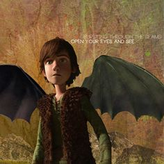 .Hiccup with Night Fury wings.