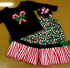 LIMITED Candy Cane Ruffle Pant Set  3pc Outfit  by bearyuniquegifts, $25.00