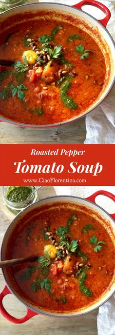 Roasted Red Pepper Tomato Soup with Parsley Pesto and Pine Nuts | CiaoFlorentina.com @CiaoFlorentina