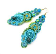 Blue Soutache Earrings Long with Toho Beads Gold  Turquoise Blue Green Agate Cup Chain Soutache Braid Glamour and Shiny Style Gift Colorful