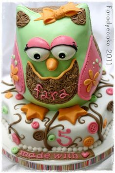I really like the owl on this one, kind of looks like a furby lolFondant Owl Cake Topper Owl Cake birthday party girl boys kids kid chil children Owls Owl hibou gateau