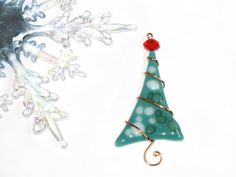 Fused glass tree ornament. (Hobby Lobby has glass you can fuse in your microwave!)