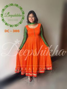 Salwar suit neck designs - Beautiful orange color floor length dress with green color full sleeves from Deepshikha DC queries kindly whatsapp 9059683293 30 July 2017 Salwar Suit Neck Designs, Neck Designs For Suits, Kurta Designs Women, Dress Neck Designs, Designs For Dresses, Salwar Designs, Saree Blouse Designs, Kalamkari Dresses, Ikkat Dresses