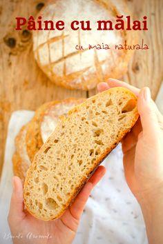 Cum se face o pâine cu mălai și făină albă cu miez pufos și elastic și coajă crocantă? Pâine cu mălai fără drojdie, dospită cu maia naturală. Gluten, Bread, Food, Home, Brot, Essen, Baking, Meals, Breads
