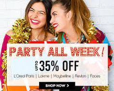 @Nykaa Party All Week: Upto 35% off on Top brand makeup products #lakme #maybelline #revlon #colorbar #loreal #discounted prices  Get this offer-->>http://goo.gl/ak5ABJ