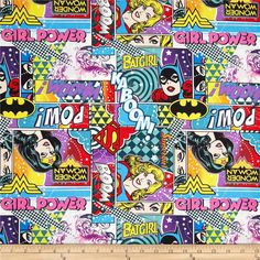 Girl Power 2 Action from @fabricdotcom  From Camelot Cottons, this cotton print is perfect for quilting, apparel and home décor accents. Colors include black, red, yellow, orange, white, grey, pink, purple and green. This is a licensed fabric and not for commercial use.