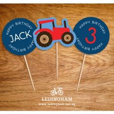 Red or Green Tractor Cupcake Toppers (Personalised DIY Printables) http://ledingham.net.au/shop/kids-parties-kids-party-stationery/tractor-party-theme/tractor-cupcake-toppers-personalised-diy-printables-191.html