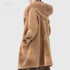 Women winter camel wool sheepskin shearling coat real fox fur hooded long outwear windbreaker patch pockets casacos >> Click picture for details << Shearling Coat, Fur Coat, Sheepskin Coat, Fox Fur, Windbreaker, Wool, Camel, Jackets, Winter