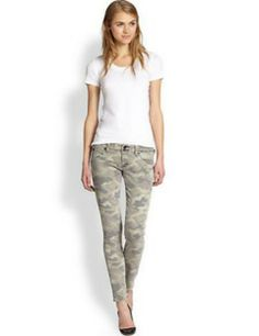 HUDSON Collin Camouflage-Print Skinny Jeans
