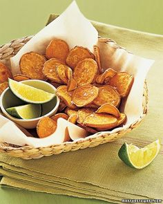 Baked Sweet-Potato Chips ; served with garden salad and with shrimp cocktail recipe from America's test kitchen.