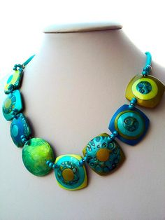 ~ Great color palette! Polymer clay necklace by  Mabcrea Art Cecilia Botton Flickr