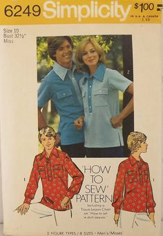 Vintage 70's Sewing Pattern, Misses Shirt, Size 10 by SuzisCornerBoutique on Etsy https://www.etsy.com/listing/203492888/vintage-70s-sewing-pattern-misses-shirt