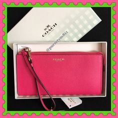 """Authentic Coach Leather Pink Clutch % AUTHENTIC ✨ Gorgeous pink leather clutch / wristlet / wallet from Coach Very spacious! Length (almost) 8"""" Height 4"""" Width 1"""" Lots of compartments for your cards, cash & phone Back exterior zip compartment. Yellow gold tone hardware  New w/ tag & box✨ NO TRADE  PRICE IS FIRM  Coach Bags Clutches & Wristlets"""