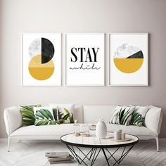 Set of 3 Mustard Wall Art Prints, Scandinavian Art for Home Decor, Modern 3 Piece Poster Set, Living Room Triptych Art by Print Avenue Triptych Art, Mustard Yellow Walls, Geometric Poster, Geometric Art, Scandinavian Art, Living Room Art, Living Room Modern, Home Art, Wall Art Prints