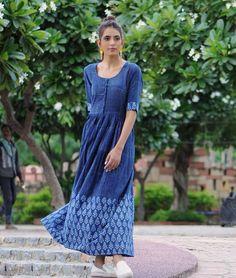 Buy Indigo Appeal by THE INDIAN ETHNIC CO. Block–printed, Shibori-dyed khadi…