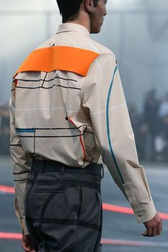 Ugly, but interesting--like the back panel and Mondrian stripes, something more subtle would work in real life-- Givenchy | Fall 2014 Menswear Collection | Style.com
