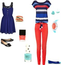"""coral and blue"" by dori0616 ❤ liked on Polyvore"