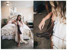 indie bride lace-up brown combat boots + lace dress