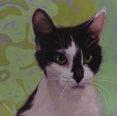 Luck of Lucia and why cat eyes glow, painting by artist Diane Hoeptner