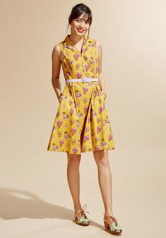 Womens - Show the hostess how excited you are to be included by dolling up in this quirky cotton shirt dress from our ModCloth namesake label! Heralding a pink-touched hot air balloon pattern atop its rich y Cotton Shirt Dress, Long Shirt Dress, Babydoll Dress, Unique Dresses, Cute Dresses, Vintage Dresses, 1940s Fashion Dresses, Spring Outfits, Designer Dresses