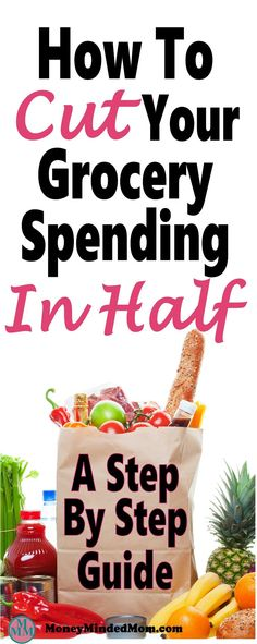How to Cut Your Grocery Budget in Half ~ A step by step guide. Saving money on groceries is one of the easiest ways to but back on monthly expenses. Learn how to save serious money on groceries every month. grocery budget   meal planning   save money   money   budget   save money on groceries #savemoney #money #mealplan #grocerysaving