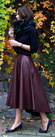 TREND: high-low burgundy leather midi skirt | Skirt the Ceiling