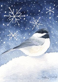 Chickadee Winter - Original Wild Bird Watercolor