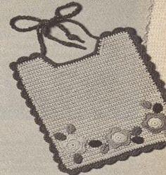 "Original pinner said, ""crochet baby bib pattern Crochet Baby Bibs, Newborn Crochet Patterns, Baby Bibs Patterns, Crochet Baby Clothes, Crochet Blanket Patterns, Baby Blanket Crochet, Crochet Home, Crochet For Kids, Free Crochet"
