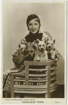 Genevieve Tobin Film Stars and Their Pets Postcard