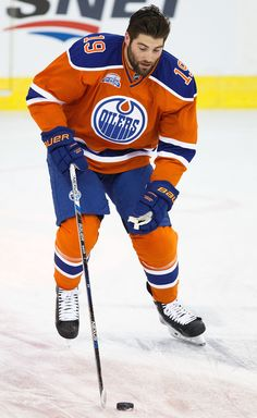 Patrick Maroon #19 of the Edmonton Oilers skates against the Vancouver Canucks on March 18, 2016 at Rexall Place in Edmonton, Alberta, Canada.