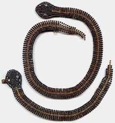 1930's Rhinestone Snake Necklace & Bracelet Set