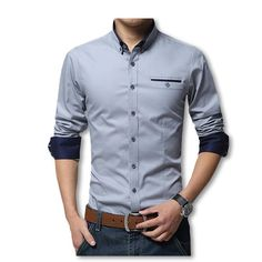 d631e3e659d Check Discount 2018 New Spring Cotton Shirts Men High Quality Long Sleeve  Slim Fit Shirt Pure Color Modern Casual Camisa Big Size