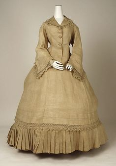 Morning Dress (1867)  American, Made of linen. Collared and flared long sleeves and tucked hemline ~ trimmed with tatted cotton lace.