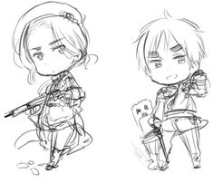 """Axis Powers Hetalia-Another Color! (Commonly referred to as 2P designs)-Possible 2P designs for England and France? """"England and France in a 2013 sketch titled """"2p"""" """" """"I couldn't decide whether to pour my efforts into drawing England and France in one of their battle uniforms, or if I should go with something a bit different than usual.""""-Hidekaz Himaruya's blog translation from http://bamboothicket2.livejournal.com/tag/2p"""