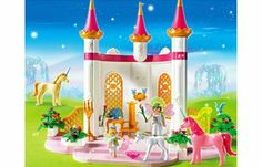 """Playmobil 5873 Fairy Tale Unicorn Fairy Palace by PLAYMOBILE. $89.95. A throne, a Harp, flowers with stands, and more accessories.. Also includes three unicorns, one fairy lady, 7.5 cm/2.95 inches; and one fairy girl. measures 5.25cm/2.05 inches.. The box measures: 19""""x15""""x3.5"""". Weight: 4 LB.. Playmobil Fairy Tale Unicorn Fairy Palace # 5873, 4+ years. Large playset, it contains 271 pieces.. Enter a magical fairytale take with the Unicorn Fairy Palace!  Fairy Queen and..."""