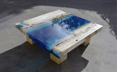 New Marble and Resin Coffee Table Captures the Soothing Beauty of a Blue Lagoon - My Modern Met