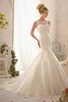 Bateau Neck Beads Applique Solid Color Floor-Length Mermaid Wedding Dress