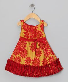 Take a look at this Gold & Red Poinsettia Evelyn Dress - Infant, Toddler & Girls by Trish Scully Child on #zulily today!