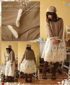 Rakuten Rakuten ranking winning prize]! French travel mood today. Let's wait for the race luxurious luxury. Swaying race was put thoughts of the designer, as the leaves of the forest and fur knit dress in diction. I was looking for this design. Cawaii dress shop (free shipping)